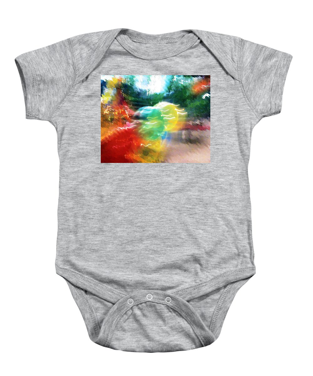 Baloons Baby Onesie featuring the painting Baloons N Lights by Anil Nene