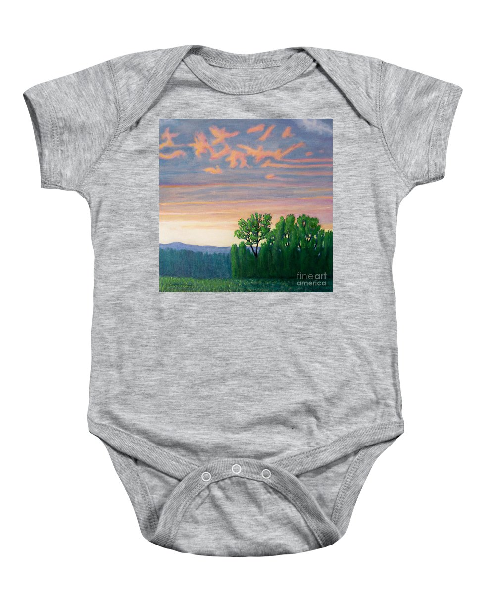 Landscape Baby Onesie featuring the painting Balsa Road by Brian Commerford