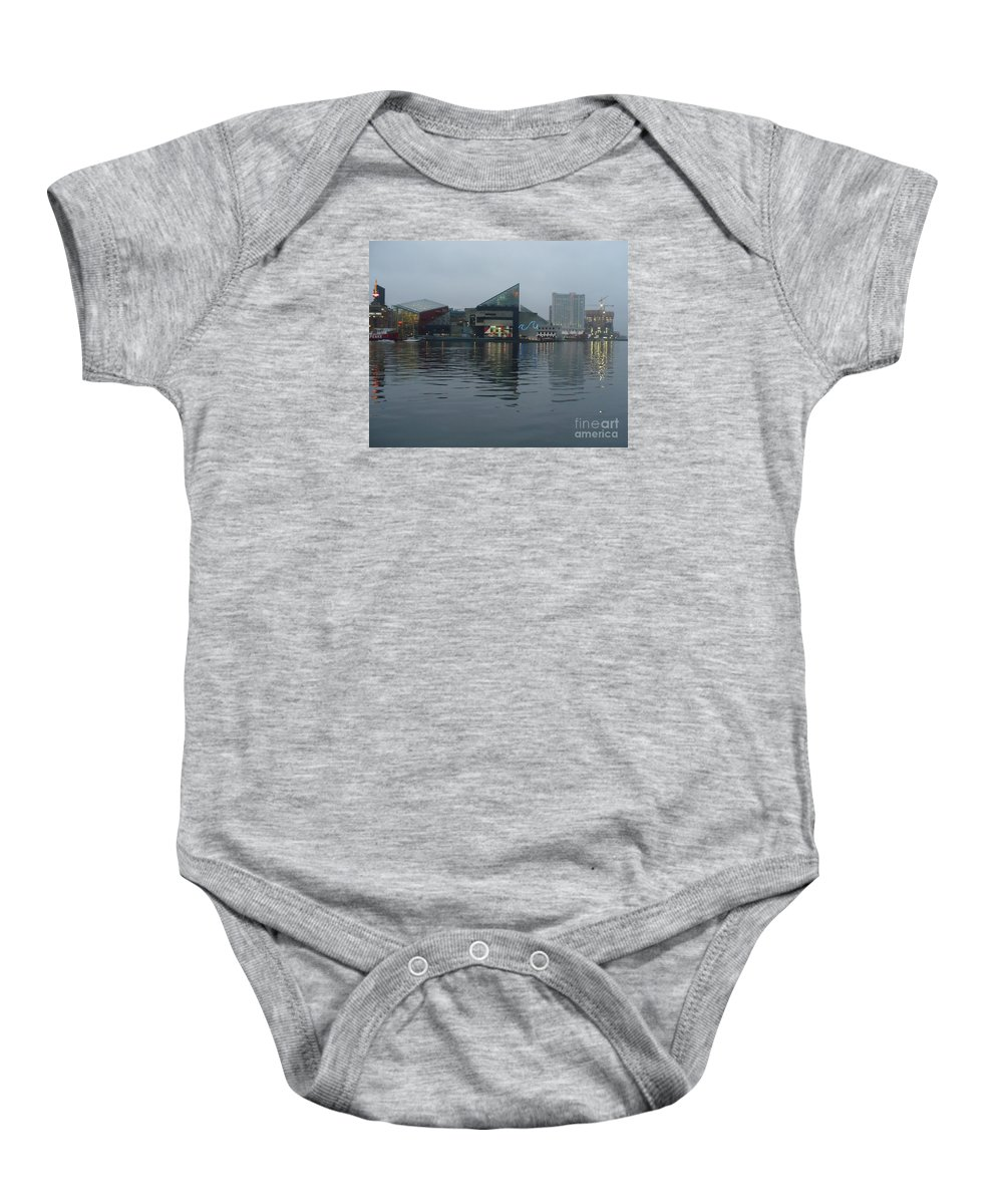 Baltimore Baby Onesie featuring the photograph Baltimore Harbor Reflection by Carol Groenen