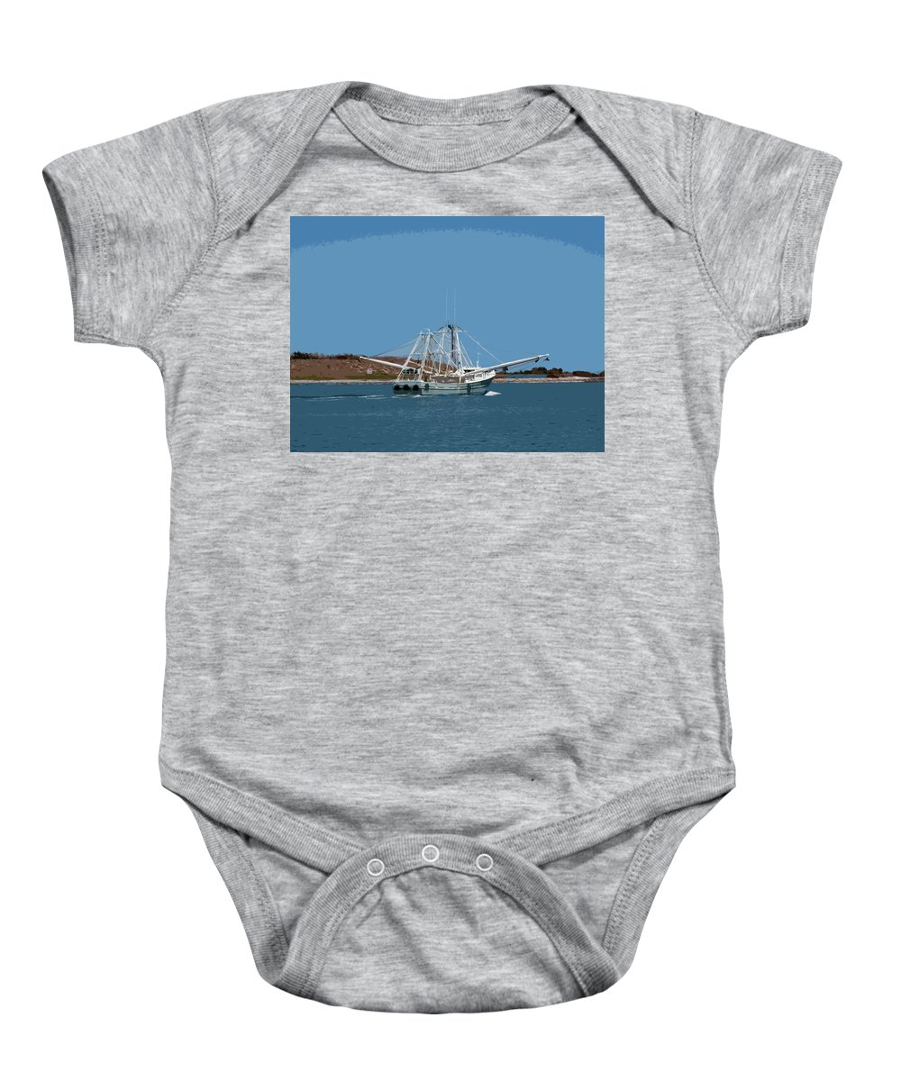 Florida Baby Onesie featuring the painting Band Of Gold Departing Port Canaveral by Allan Hughes