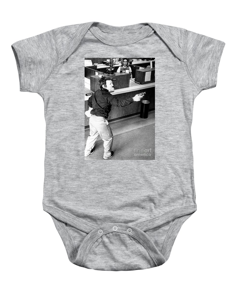 1973 Baby Onesie featuring the photograph Bank Holdup, 1973 by Granger