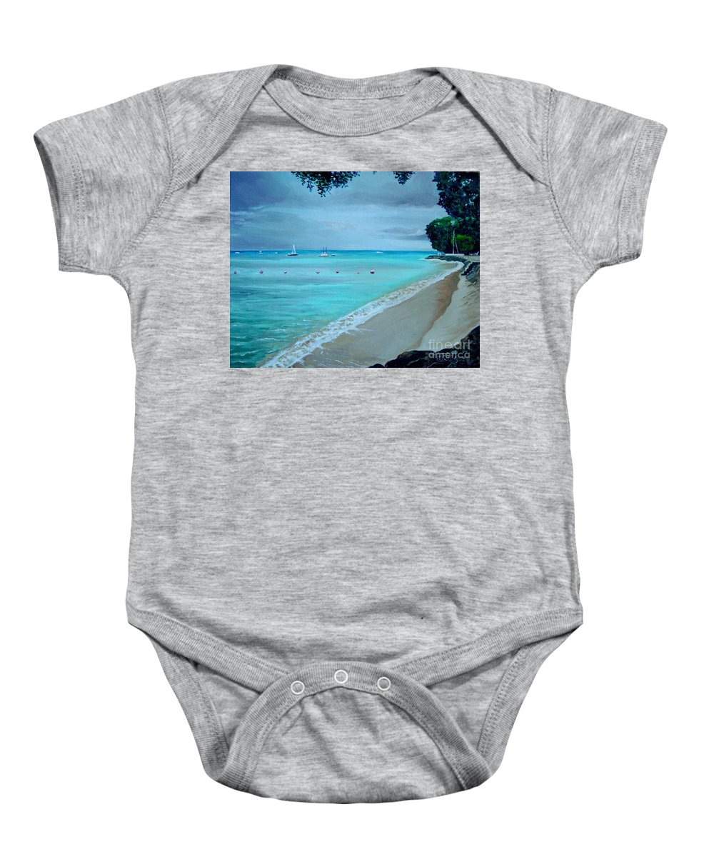 Landscape Baby Onesie featuring the painting Barbados by Elizabeth Robinette Tyndall
