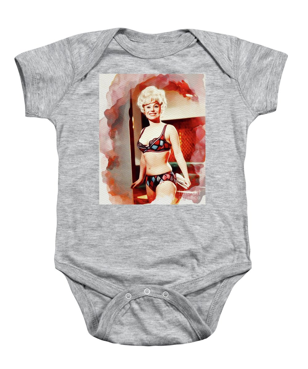 Barbara Baby Onesie featuring the painting Barbara Windsor, Carry On Films Cast by John Springfield