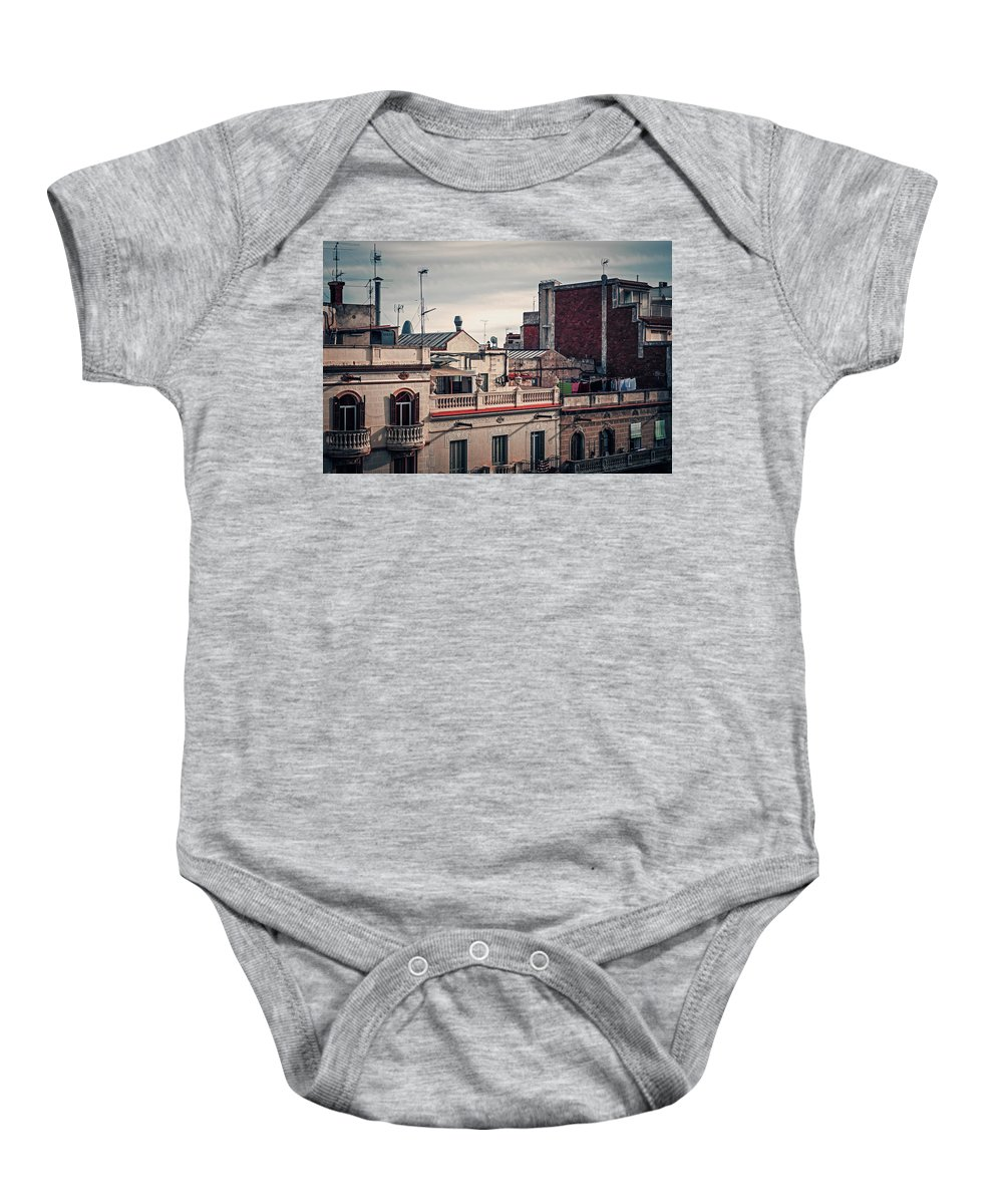 Barcelona Baby Onesie featuring the photograph Barcelona Roofscape by Alexander Voss