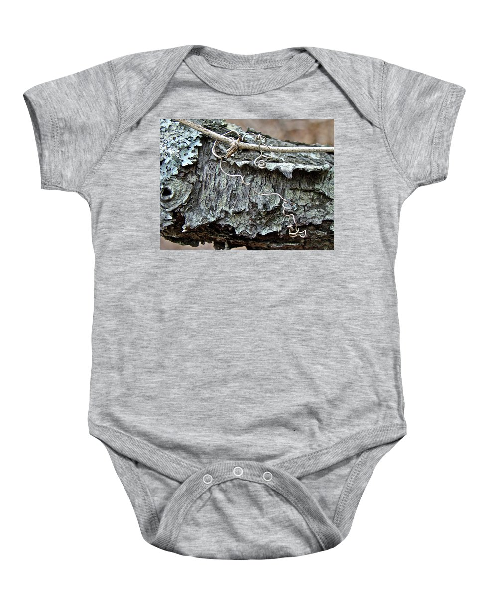 Tree Baby Onesie featuring the photograph Bark - Lichen - Cat Brier Tendrils by Mother Nature