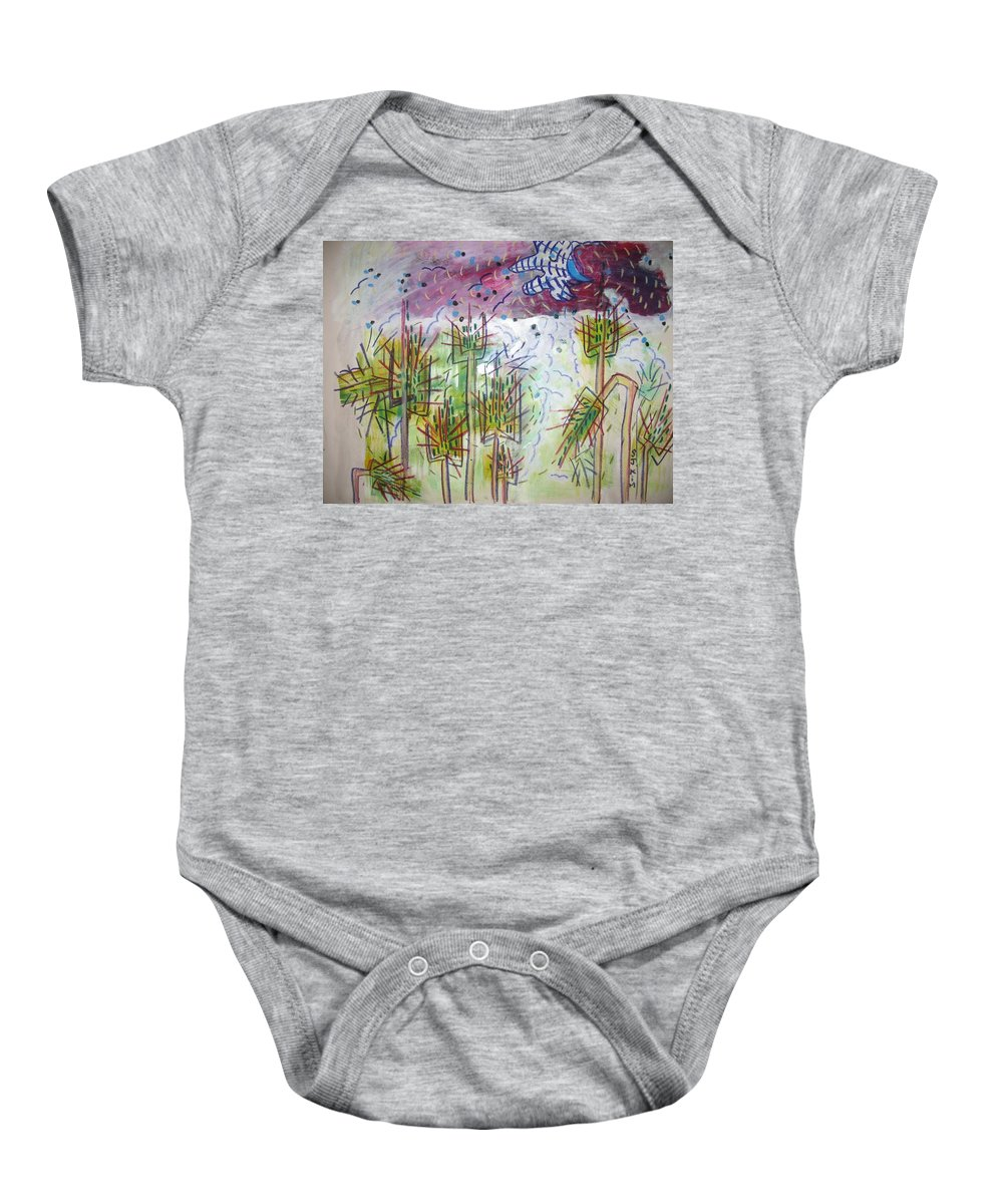 Barly Paintings Baby Onesie featuring the painting Barly And The Blue Moon by Seon-Jeong Kim