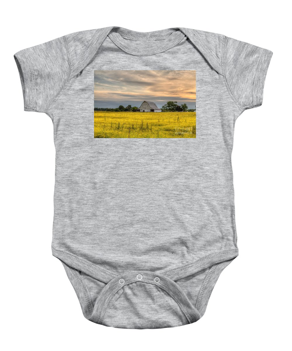 2015 Baby Onesie featuring the photograph Barm In A Yellow Field by Larry Braun