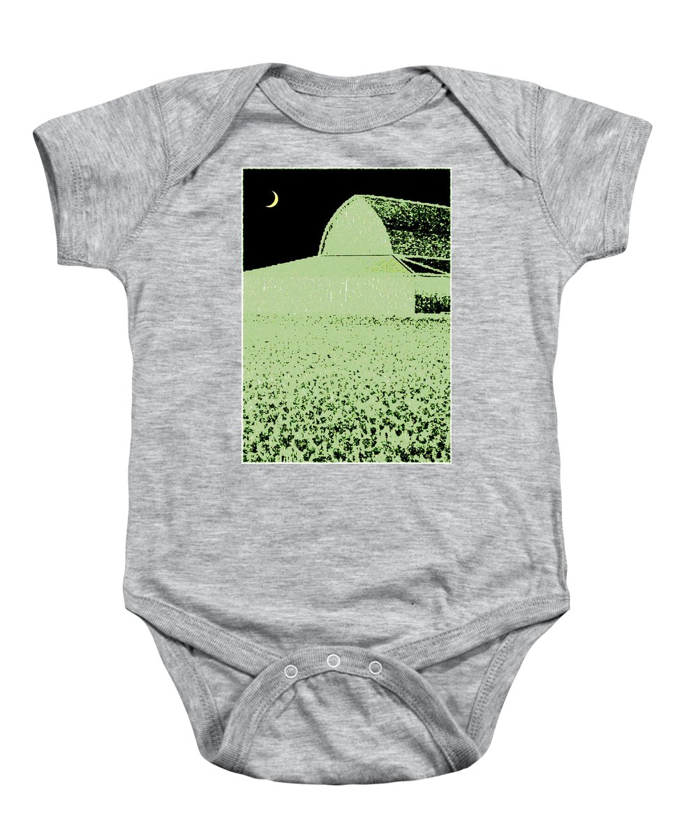 Abstract Baby Onesie featuring the digital art Barn Abstract by Will Borden