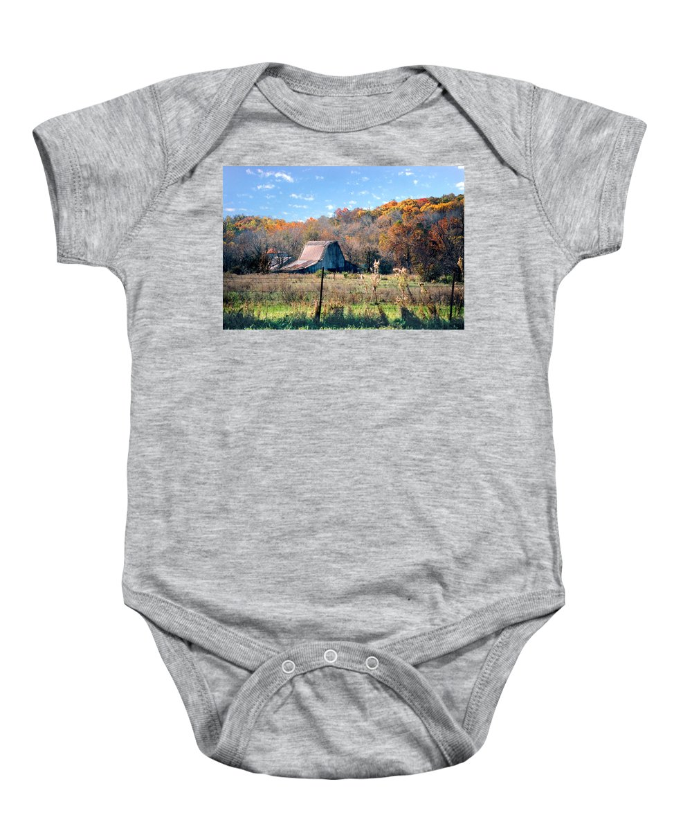 Landscape Baby Onesie featuring the photograph Barn In Liberty Mo by Steve Karol