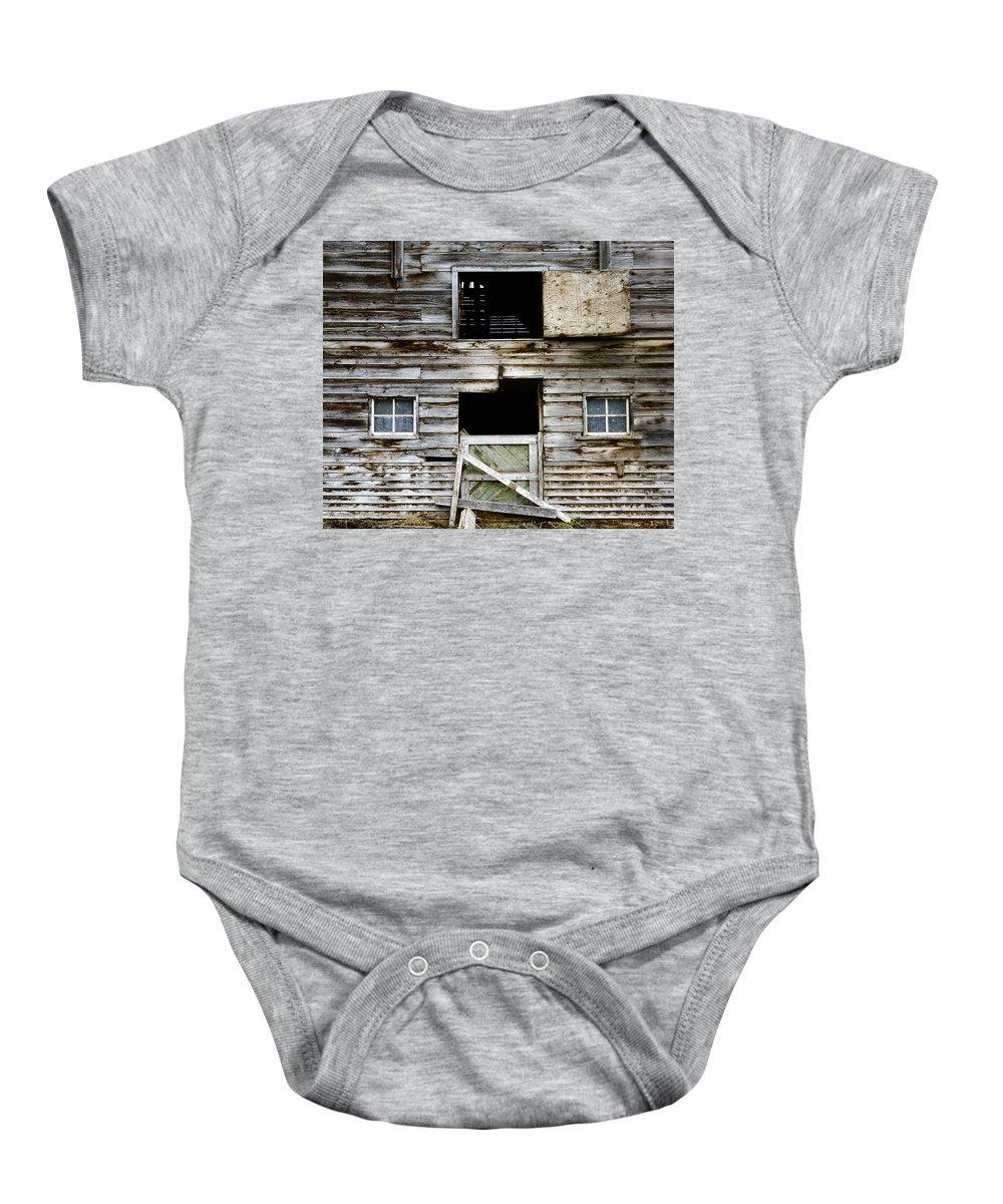 Barn Baby Onesie featuring the photograph Barn Side by Wayne Sherriff
