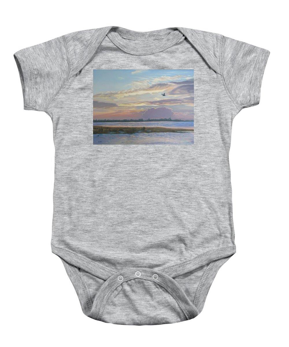 Sunset Painting Baby Onesie featuring the painting Barnegat Bay At Sunset by Lea Novak