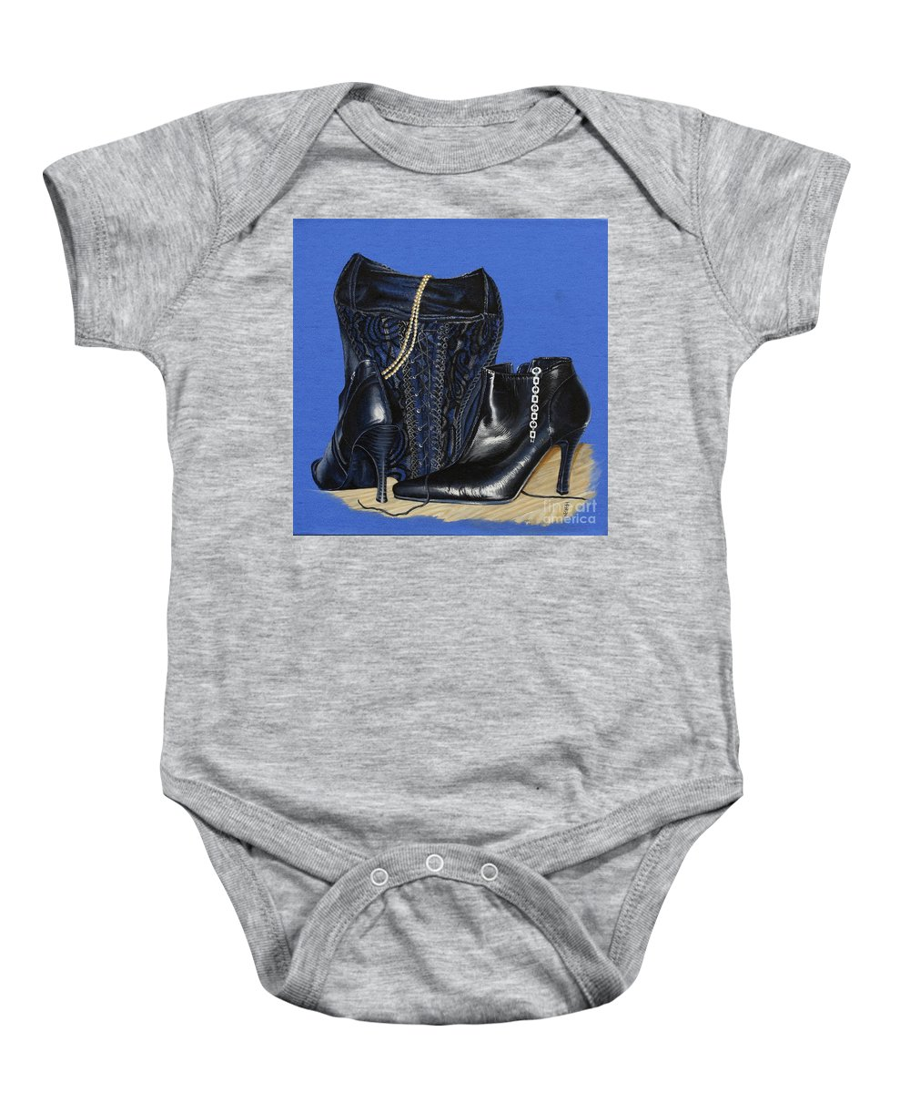 Baroque Still Life Boots Pearls Basque Bracelet Velvet Lace Black Heels Baby Onesie featuring the painting Baroque Still Life by Pauline Sharp
