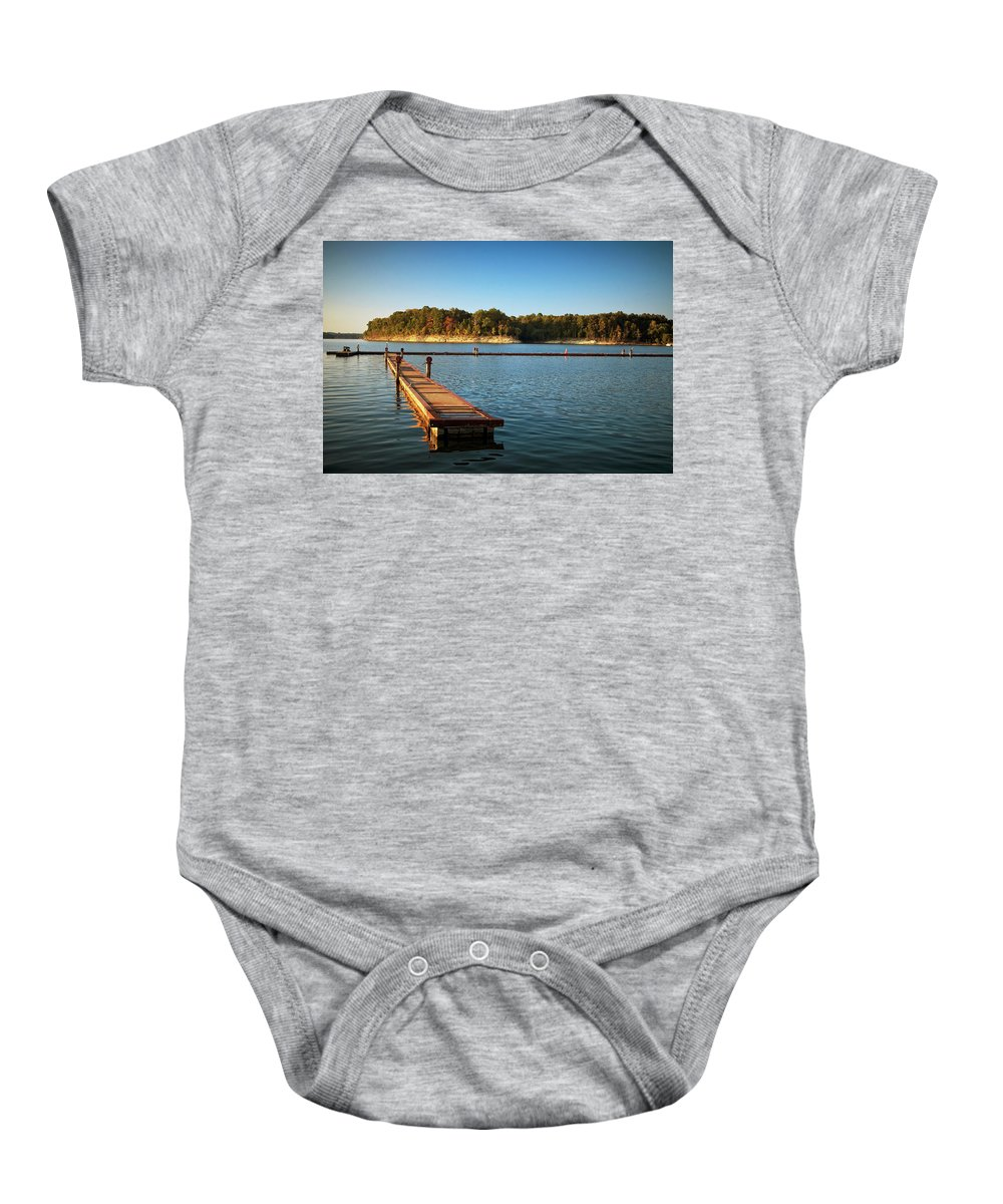 Barren Baby Onesie featuring the photograph Barren River Lake Dock by Amber Flowers