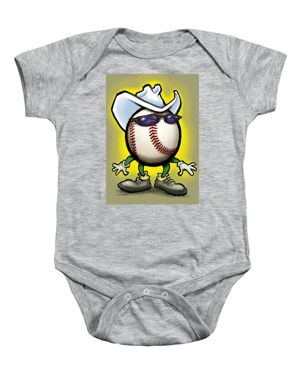 Baseball Baby Onesie featuring the greeting card Baseball Cowboy by Kevin Middleton
