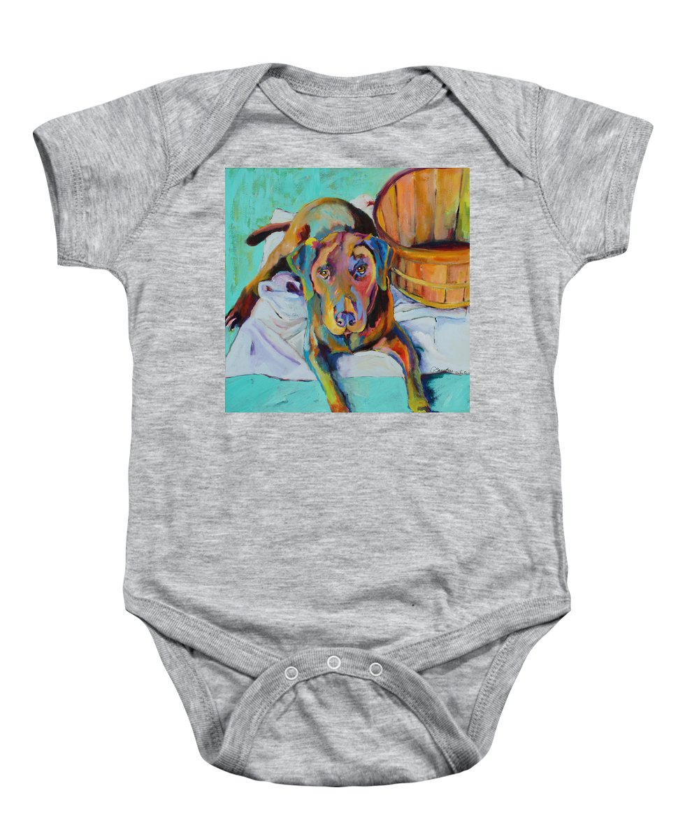 Chocolate Lab Baby Onesie featuring the painting Basket Retriever by Pat Saunders-White