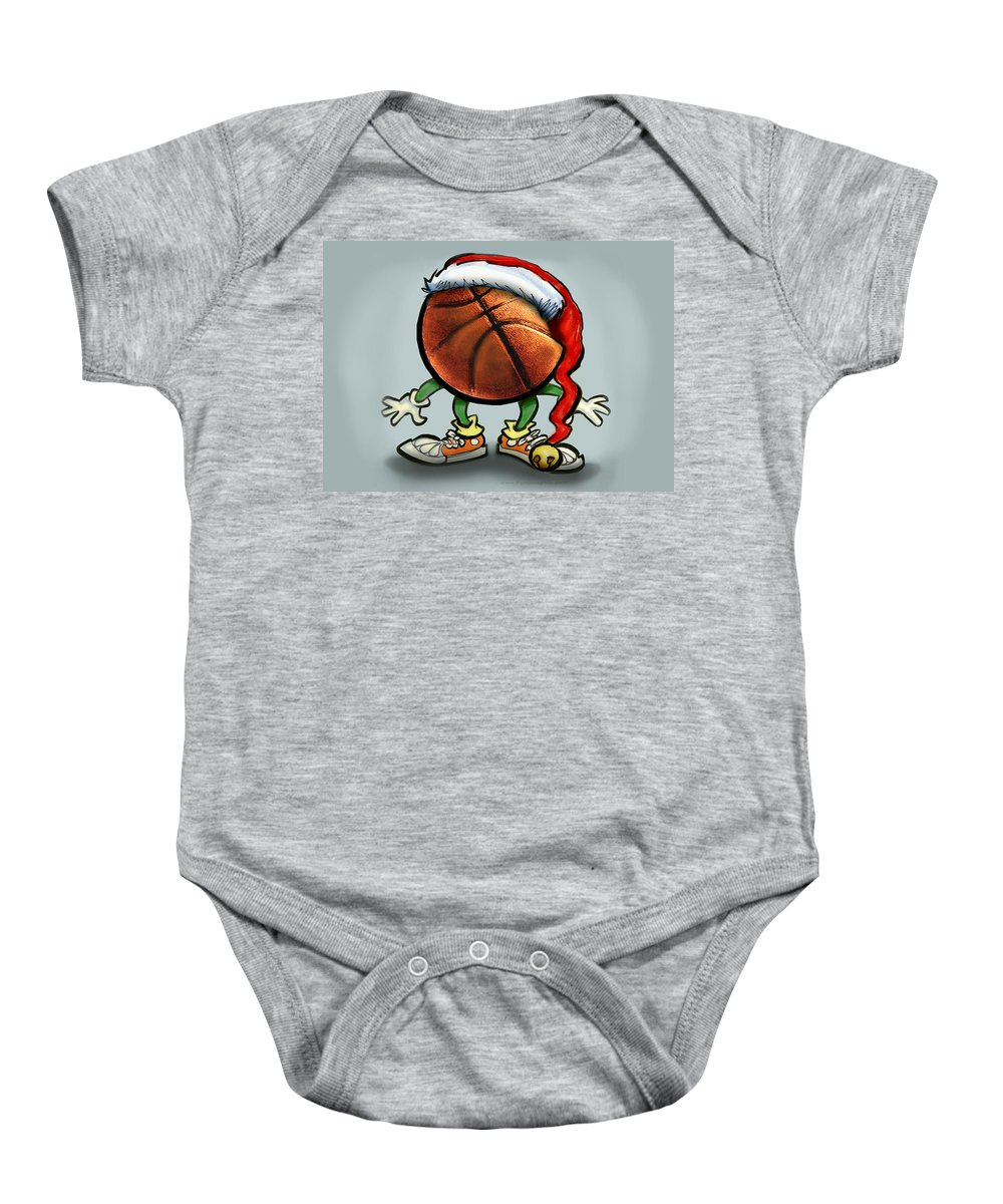 Basketball Baby Onesie featuring the greeting card Basketball Christmas by Kevin Middleton