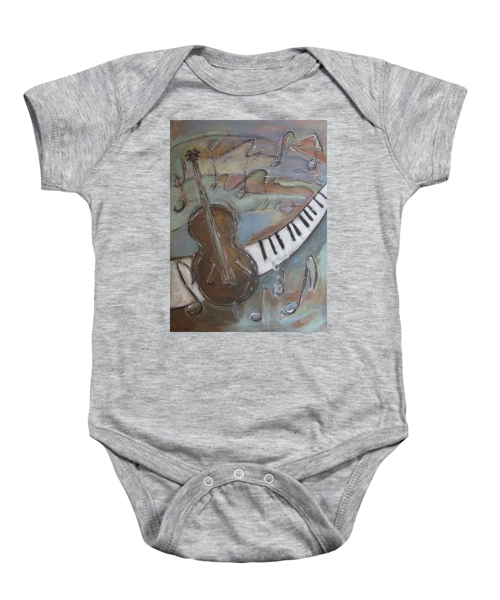 Painting Baby Onesie featuring the painting Bass And Keys by Anita Burgermeister