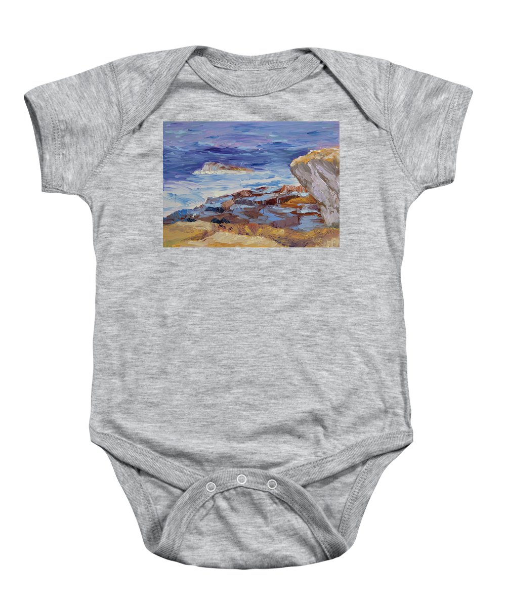 Seascape Painting Baby Onesie featuring the painting Bass Rocks by Lea Novak