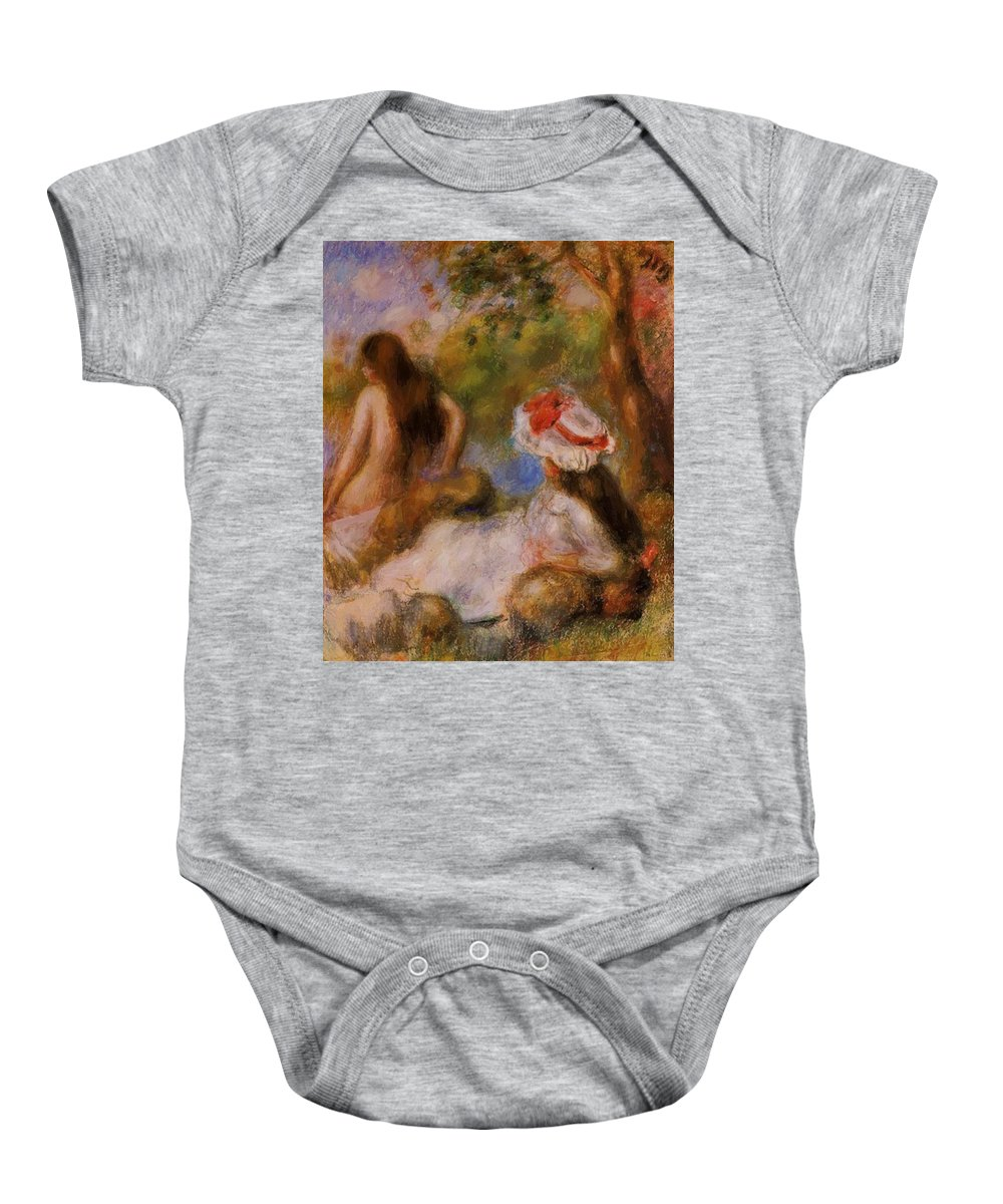Bathers Baby Onesie featuring the painting Bathers 1894 by Renoir PierreAuguste
