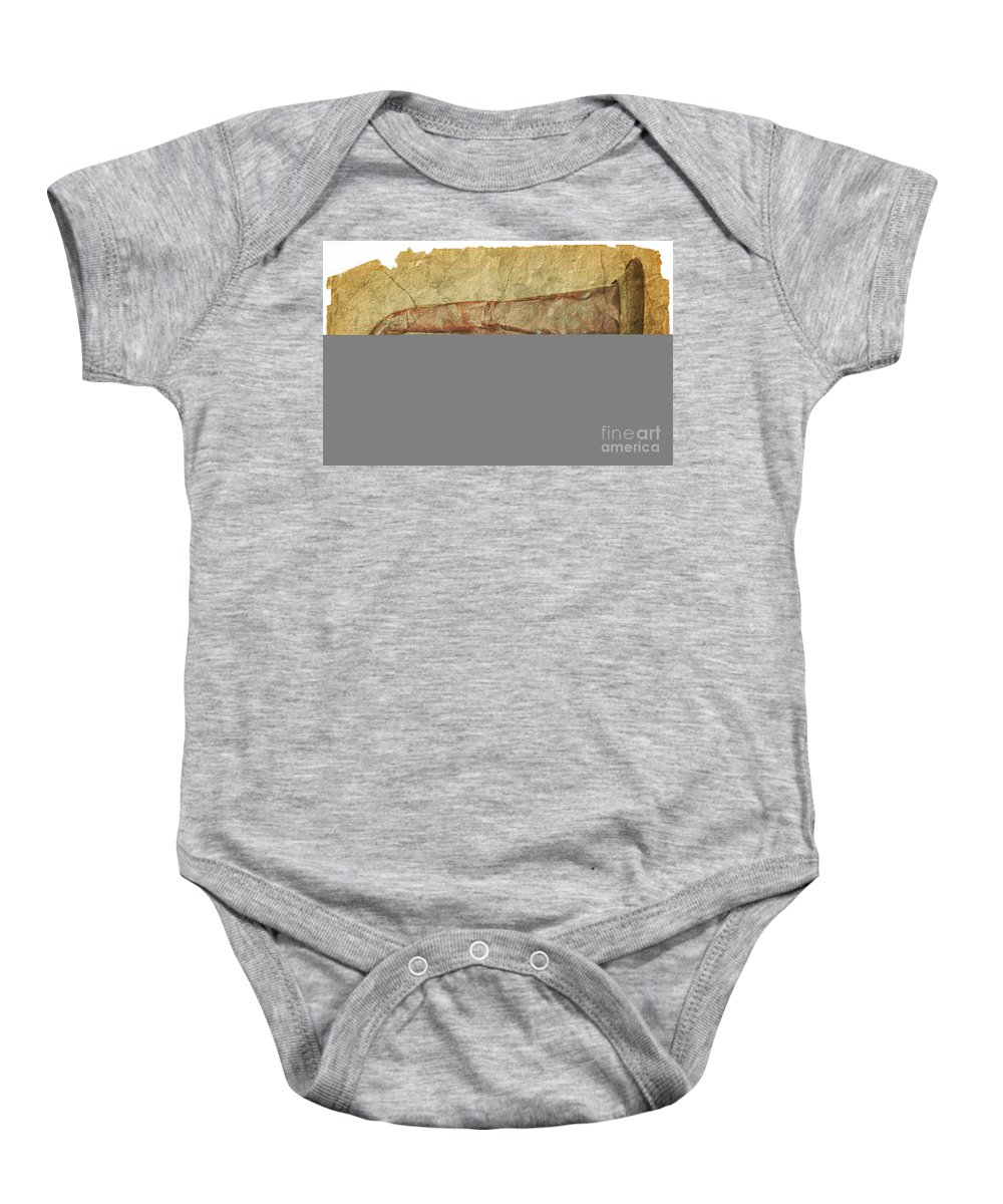 Grunge Baby Onesie featuring the photograph Battered Old Trumpet by Michal Boubin