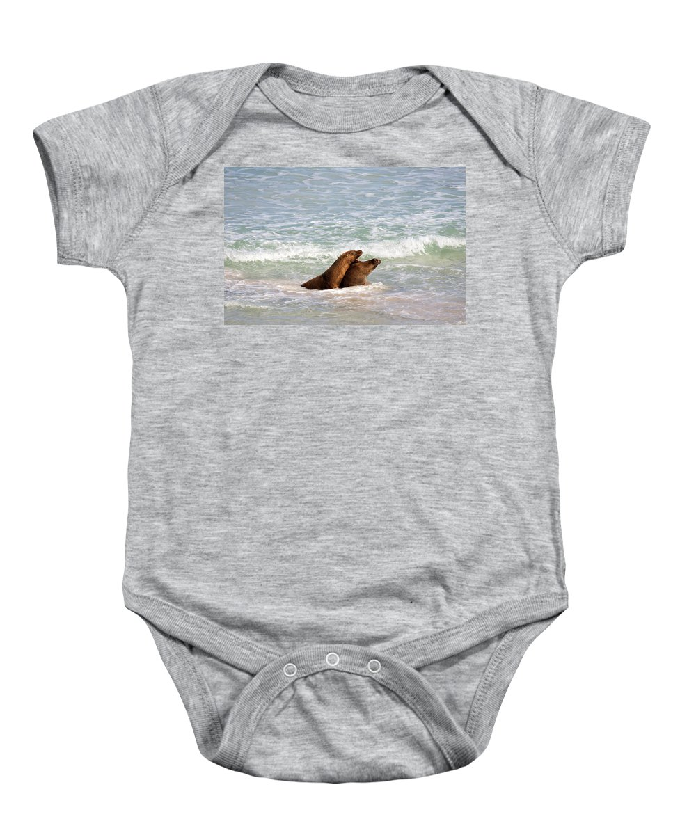 Sea Lion Baby Onesie featuring the photograph Battle For The Beach by Mike Dawson