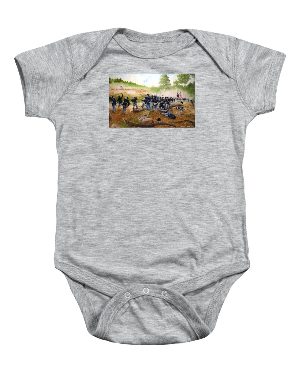 Civil War Baby Onesie featuring the painting Battle Of Utoy Creek by Marc Stewart