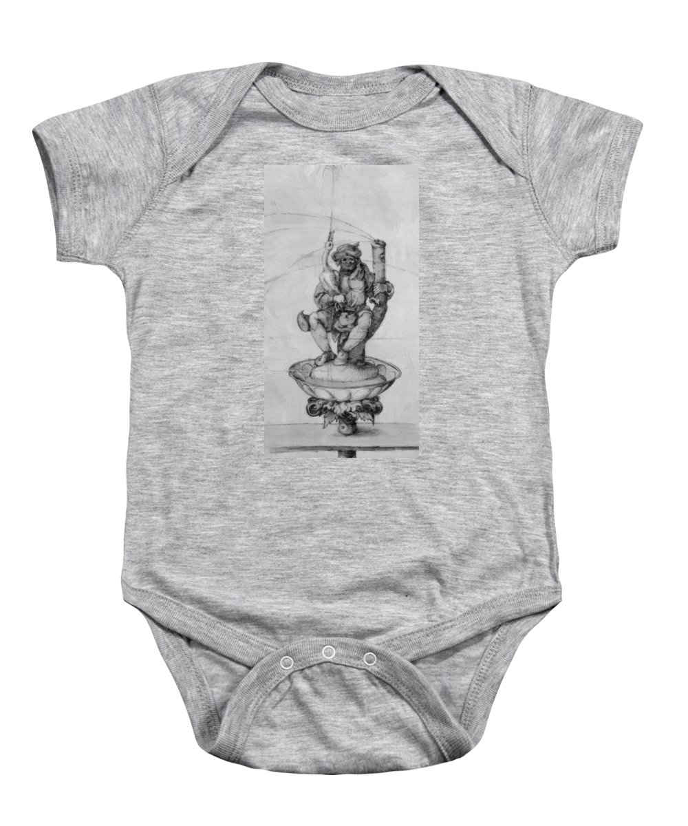 Bauer Baby Onesie featuring the painting Bauer Goose With A Fountain Figure by Durer Albrecht