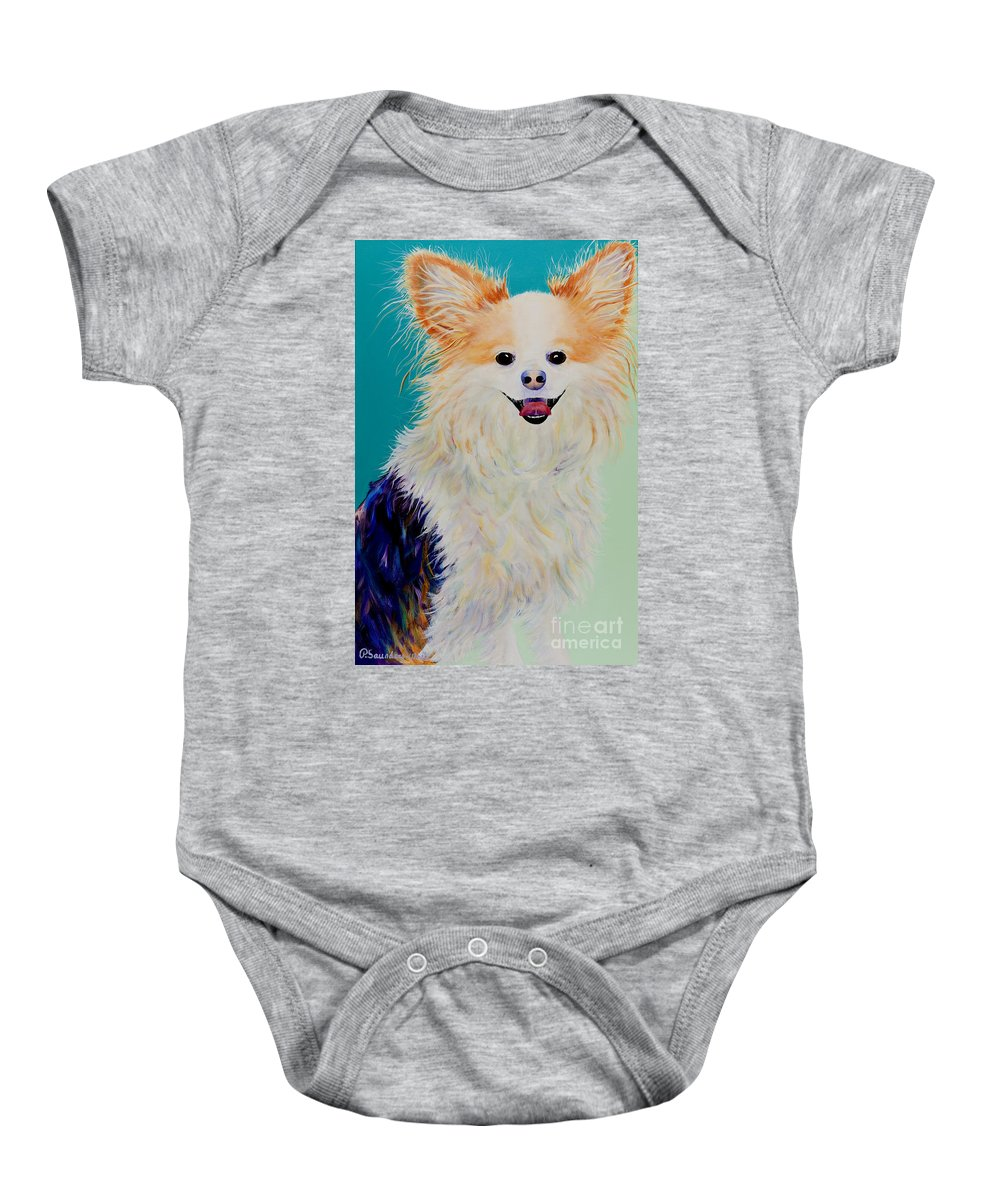Animal Baby Onesie featuring the painting Baxter by Pat Saunders-White