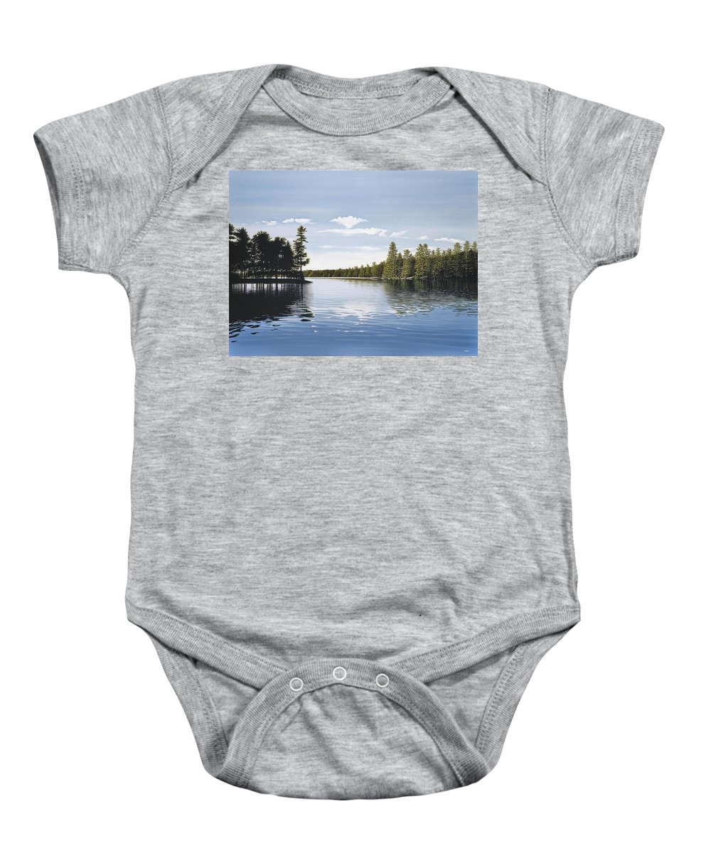 Landscapes Baby Onesie featuring the painting Bay On Lake Muskoka by Kenneth M Kirsch