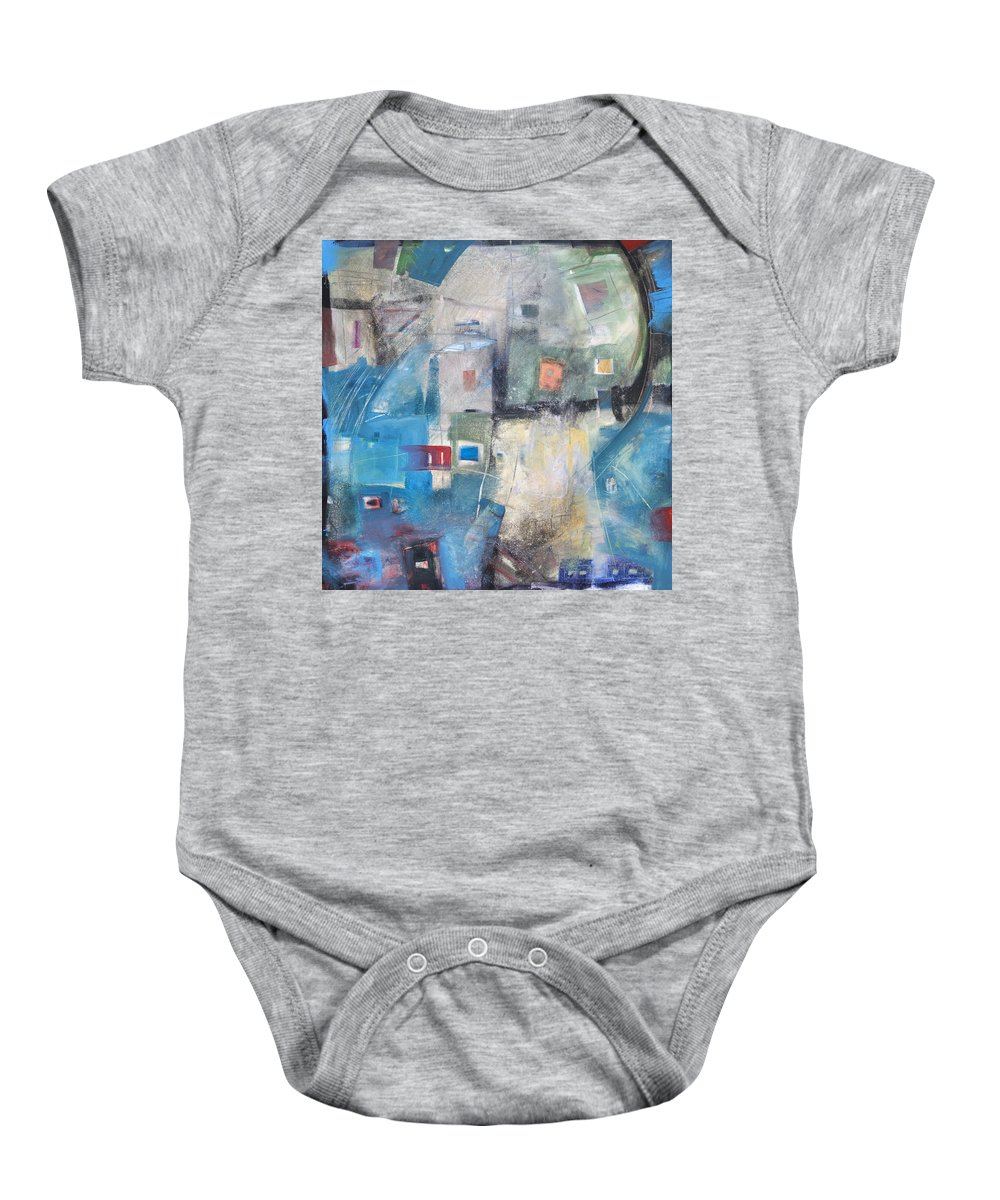 Abstract Baby Onesie featuring the painting Bayer Works Wonders by Tim Nyberg