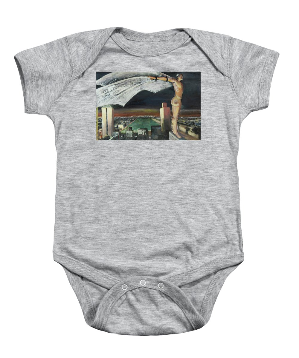 Superhero Baby Onesie featuring the painting Be Yourself, Unless You Can Be A Superhero by Craig Newland
