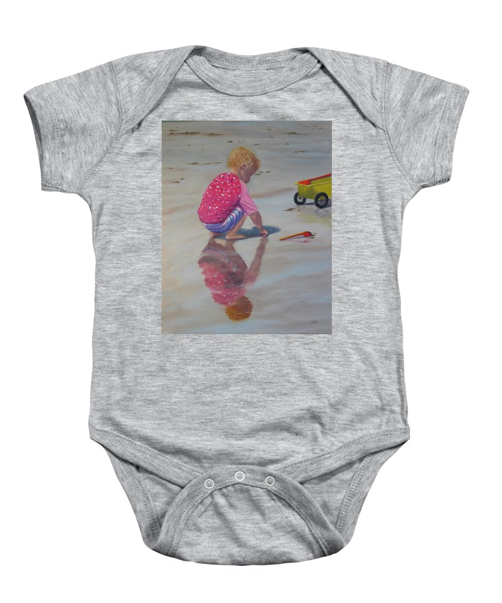 Baby Baby Onesie featuring the painting Beach Baby by Lea Novak