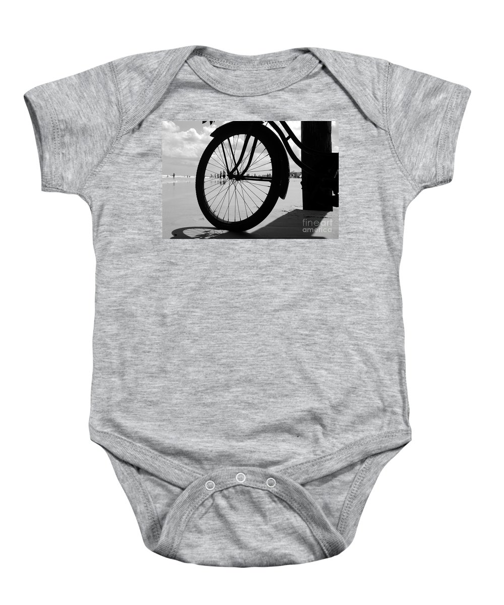 Beach Baby Onesie featuring the photograph Beach Bicycle by David Lee Thompson