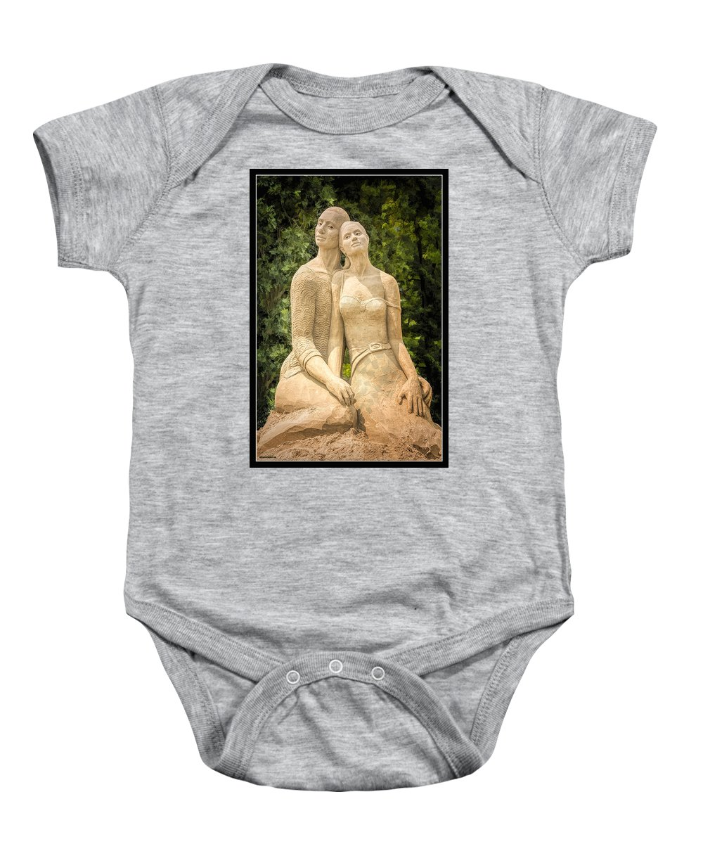 Usa Baby Onesie featuring the photograph Beach Buddies Blue Water Sand Sculpture by LeeAnn McLaneGoetz McLaneGoetzStudioLLCcom