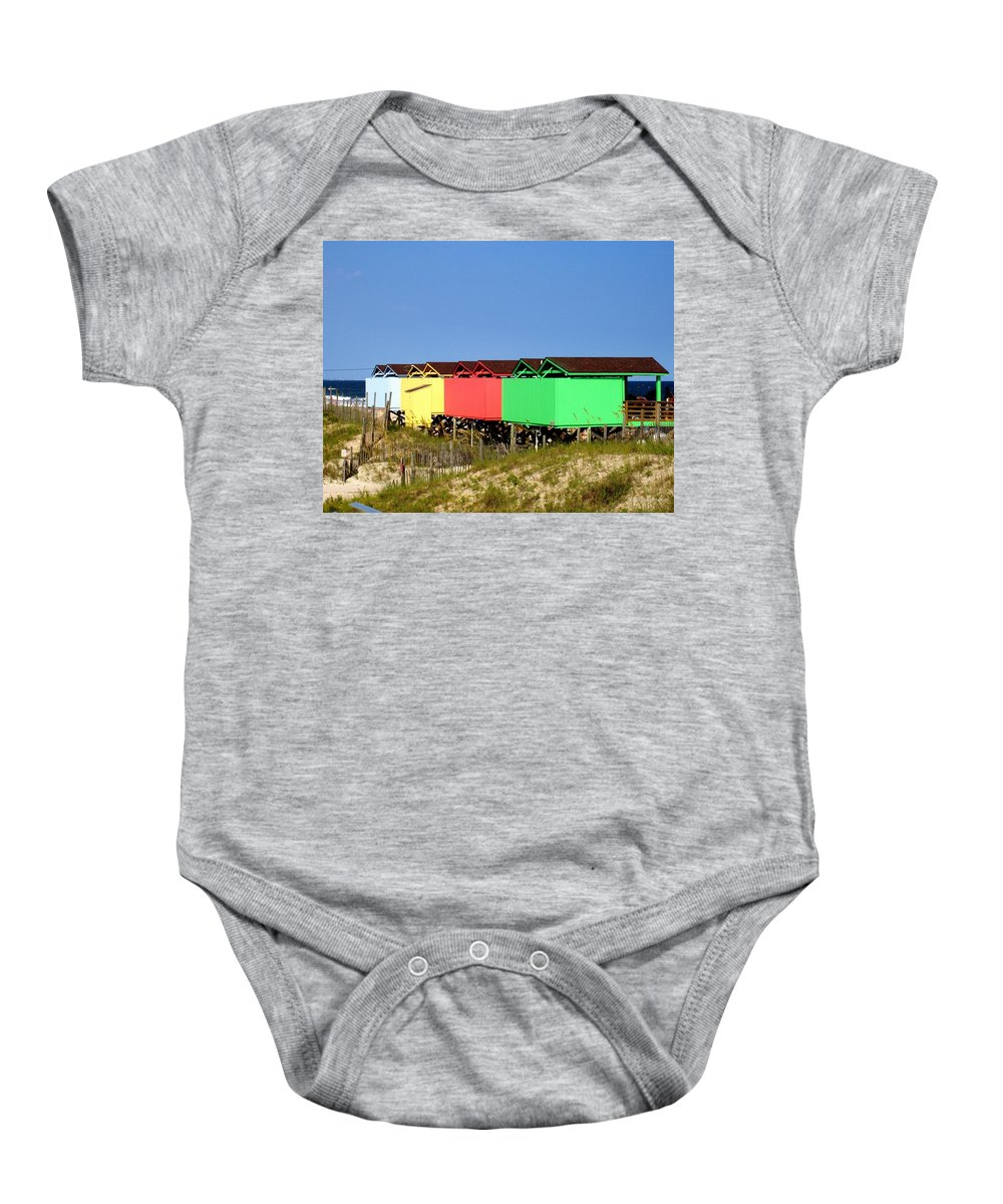 Beach Baby Onesie featuring the photograph Beach Cabanas by Deborah Crew-Johnson