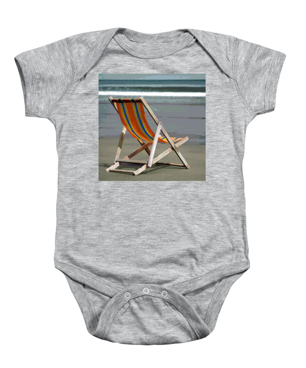 Beach Baby Onesie featuring the painting Beach Chair And Ocean Stripes by Elaine Plesser