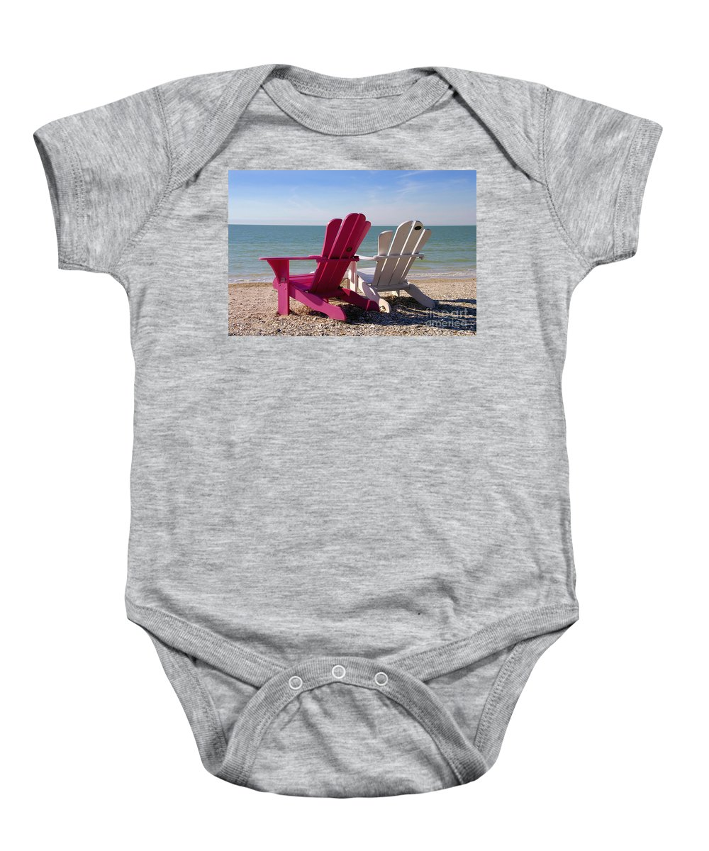 Beach Chairs Baby Onesie featuring the photograph Beach Chairs by David Lee Thompson