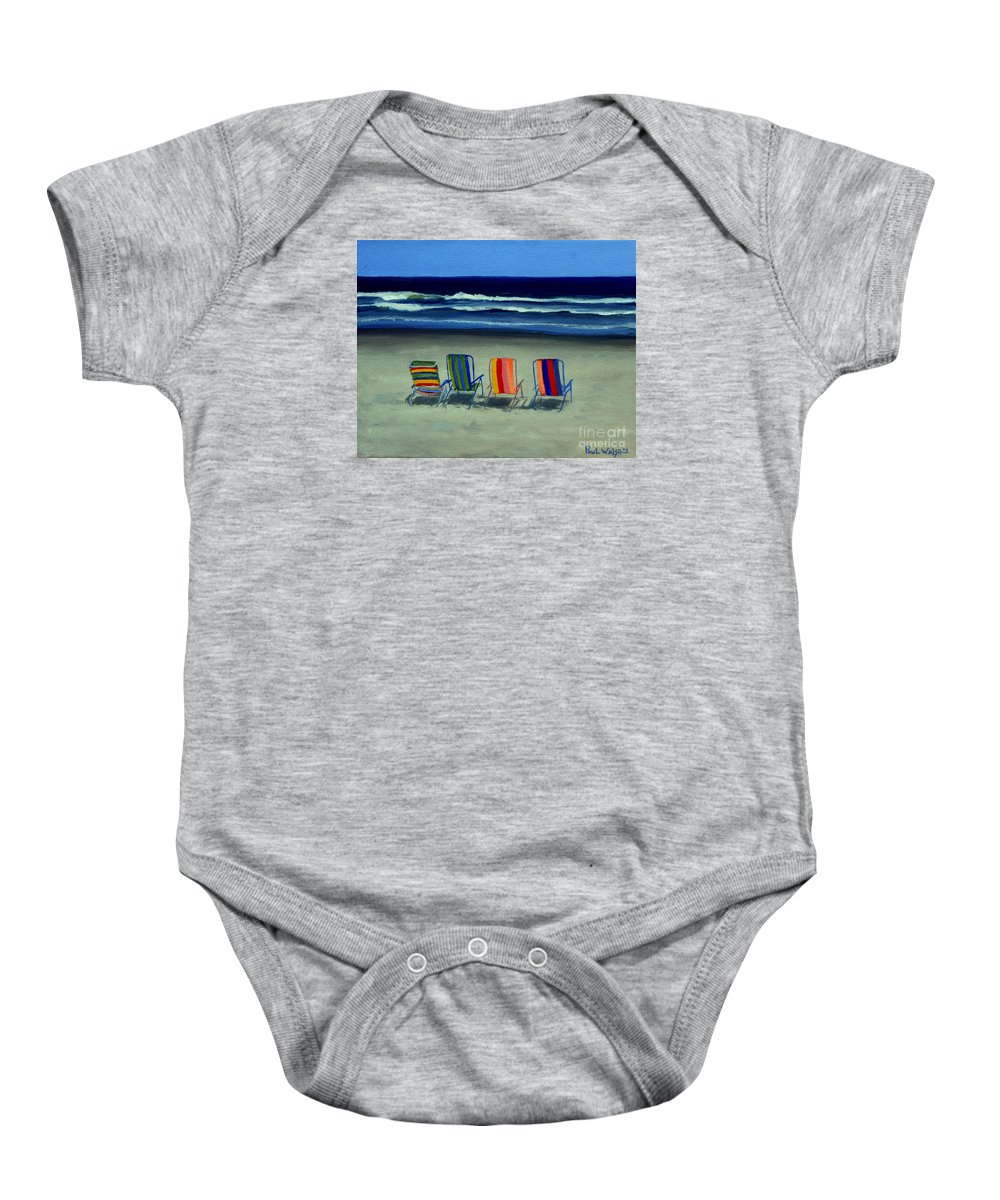 Beach Baby Onesie featuring the painting Beach Chairs by Paul Walsh
