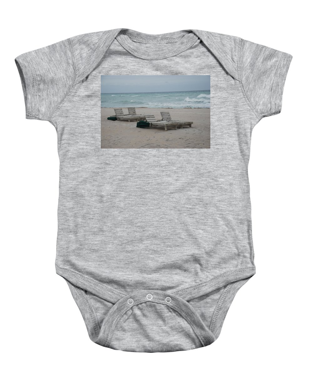 Chairs Baby Onesie featuring the photograph Beach Loungers by Rob Hans