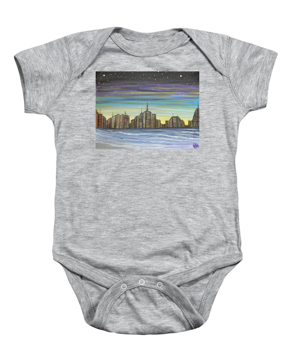 Landscape Baby Onesie featuring the painting Beach Night Life by Ryan Rinard