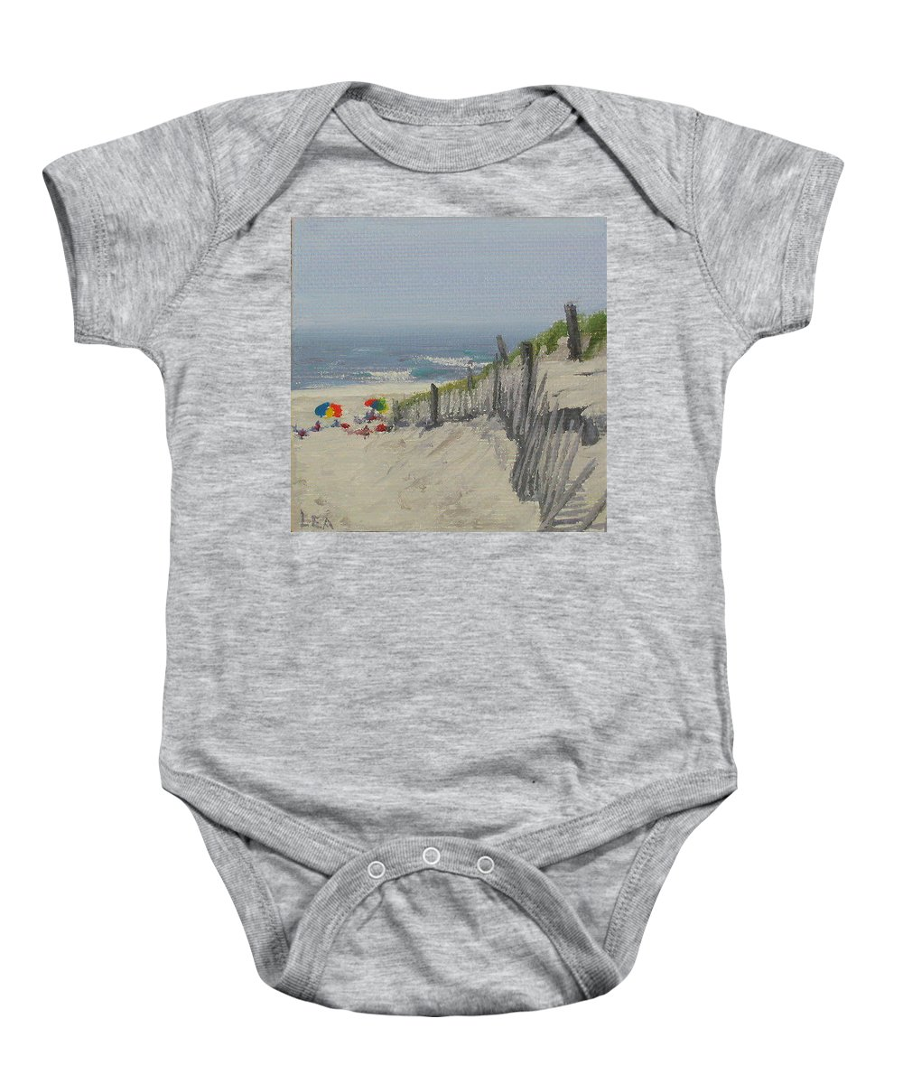 Beach Baby Onesie featuring the painting Beach Scene Miniature by Lea Novak
