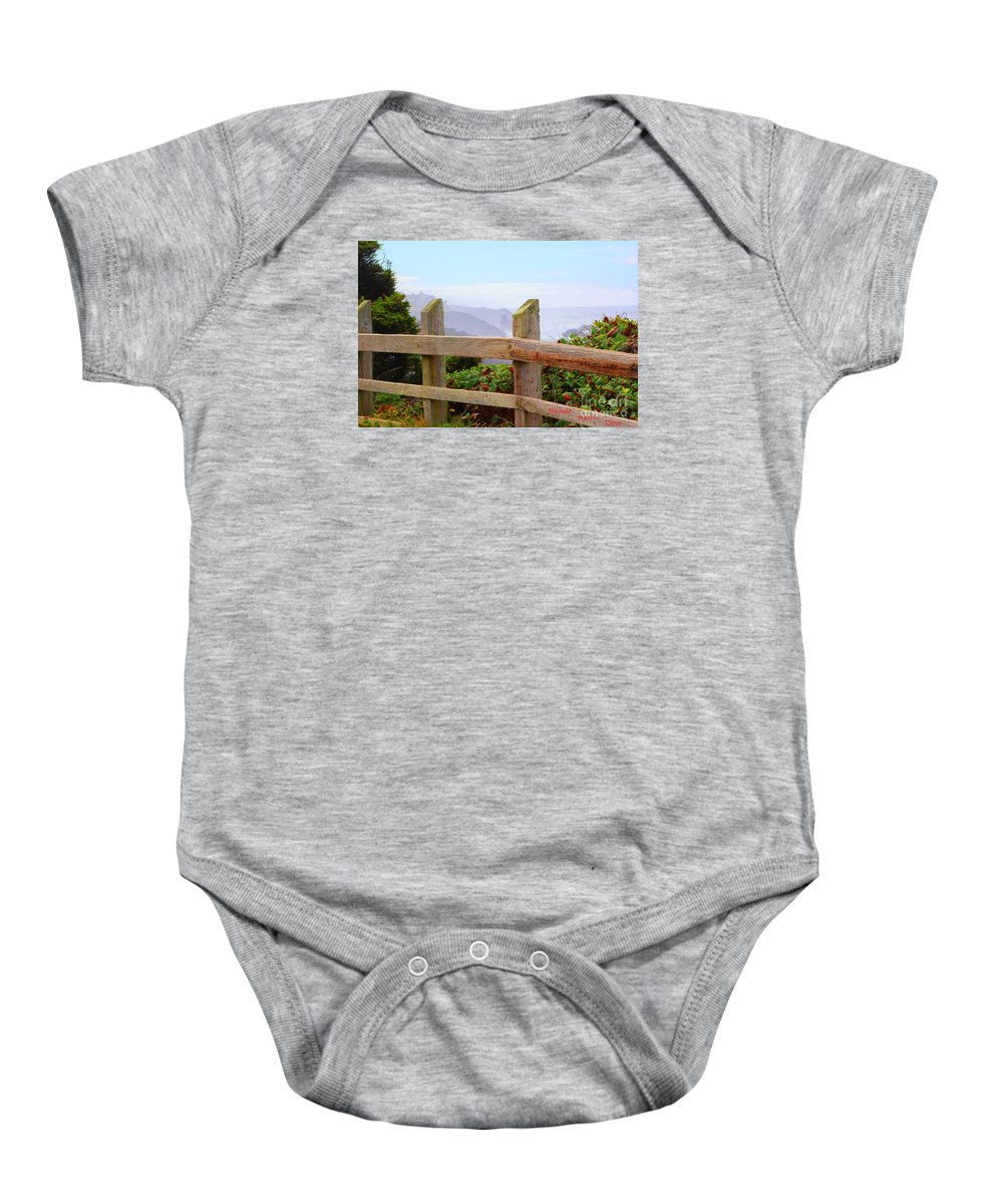 Ocean View Balcony Baby Onesie featuring the photograph Beach View Balcony by Michele Martin