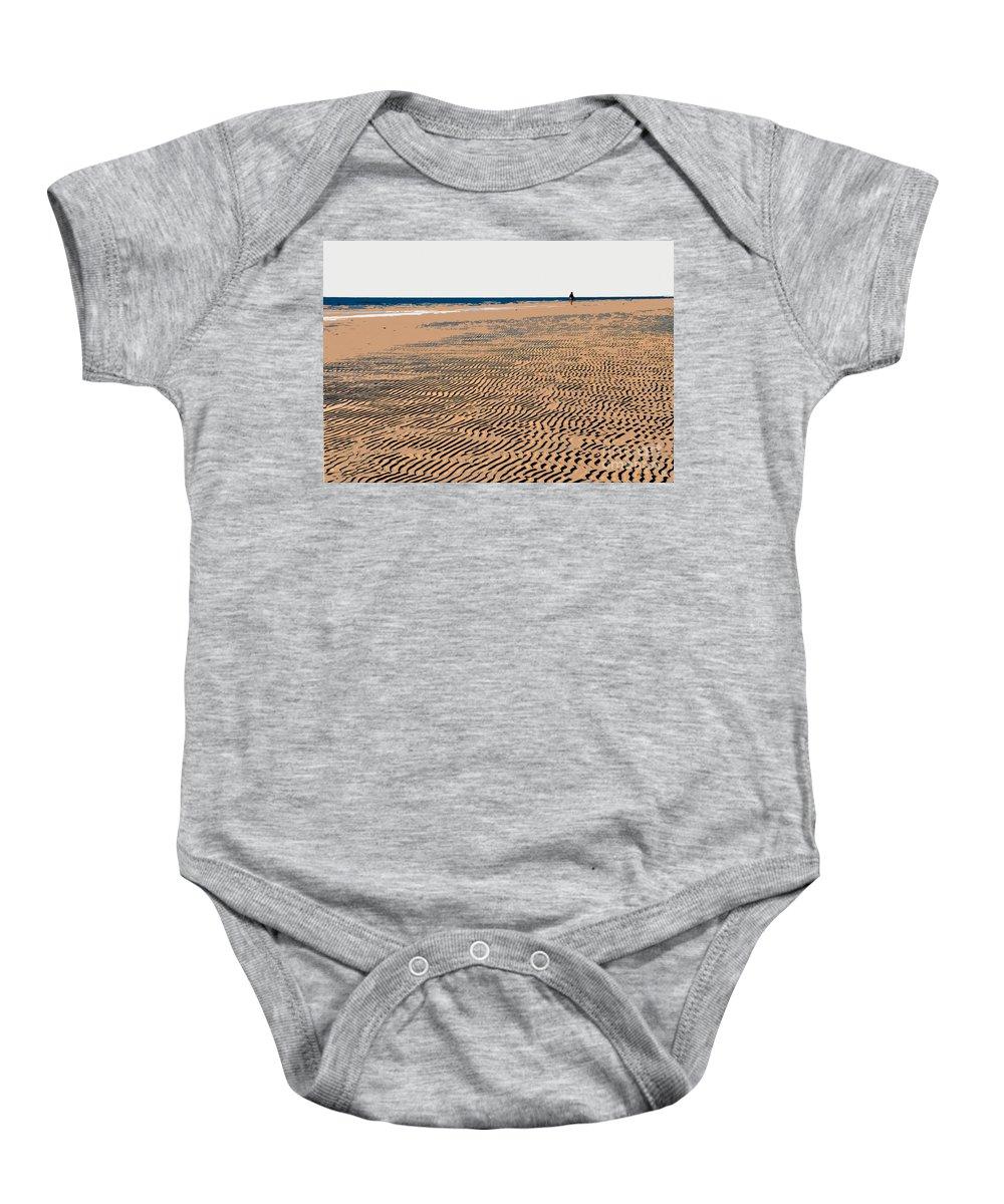 Beach Baby Onesie featuring the painting Beach Walk by David Lee Thompson