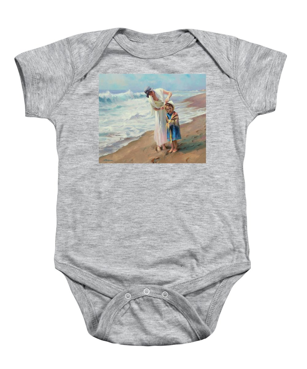 Beach Baby Onesie featuring the painting Beachside Diversions by Steve Henderson