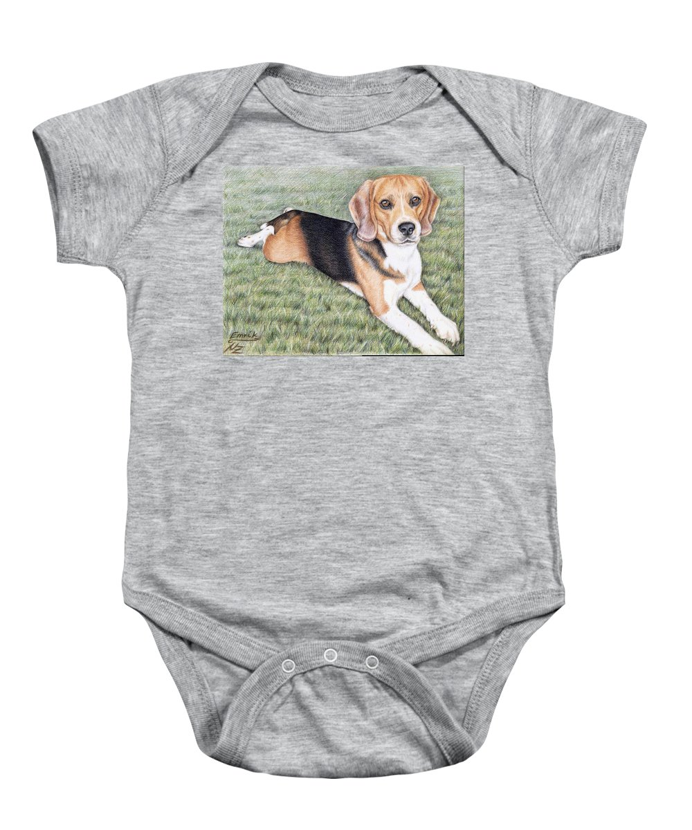 Dog Baby Onesie featuring the drawing Beagle by Nicole Zeug