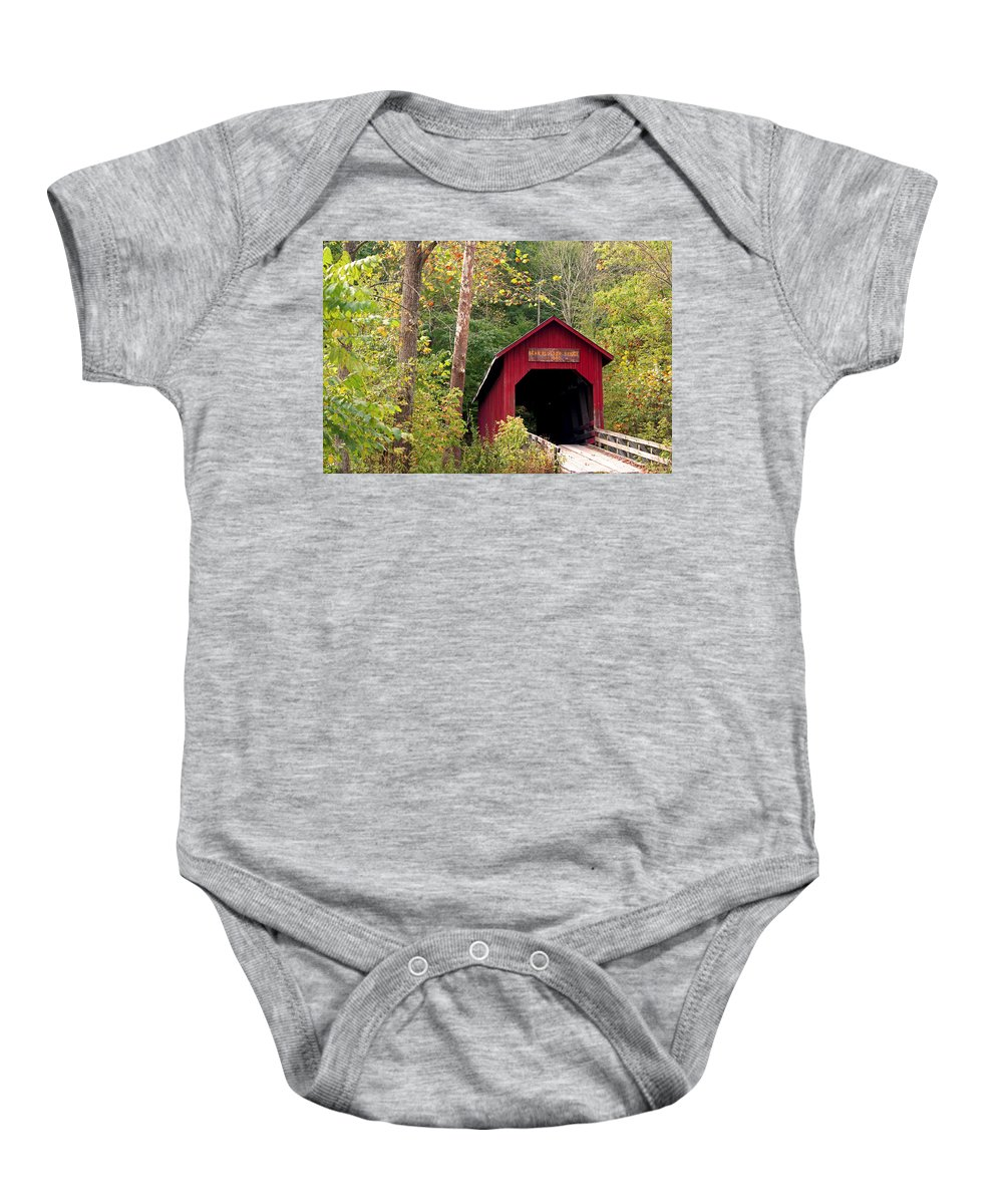 Covered Bridge Baby Onesie featuring the photograph Bean Blossom Bridge II by Margie Wildblood