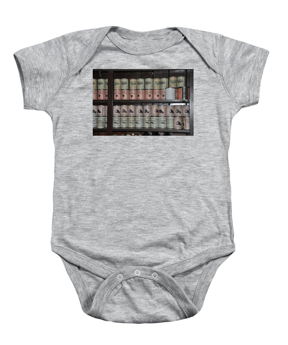 Harpers Ferry Baby Onesie featuring the photograph Beans Peaches Tomatoes And Peas by Bill Cannon