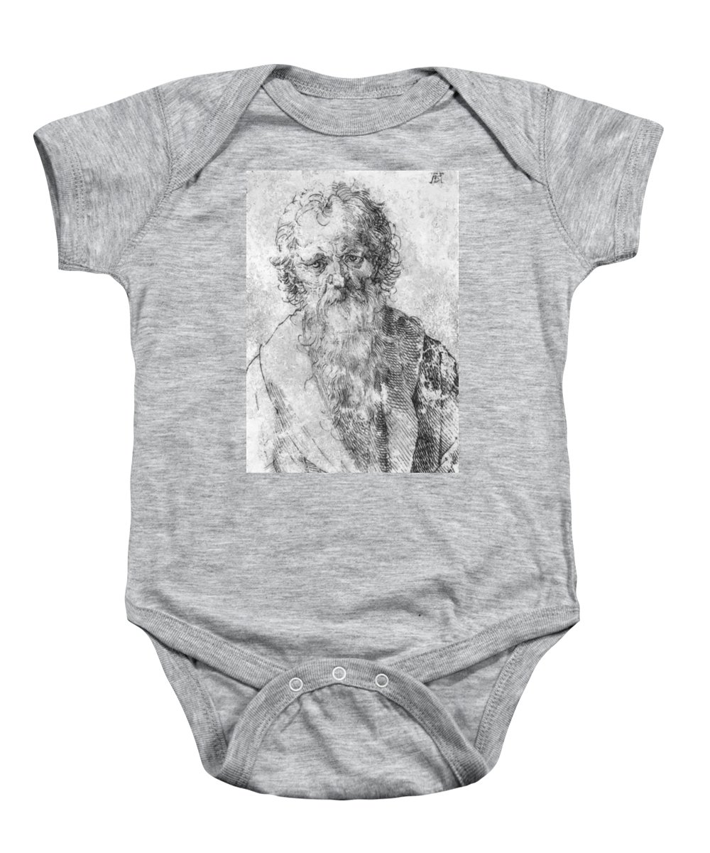Bearded Baby Onesie featuring the painting Bearded Man by Durer Albrecht