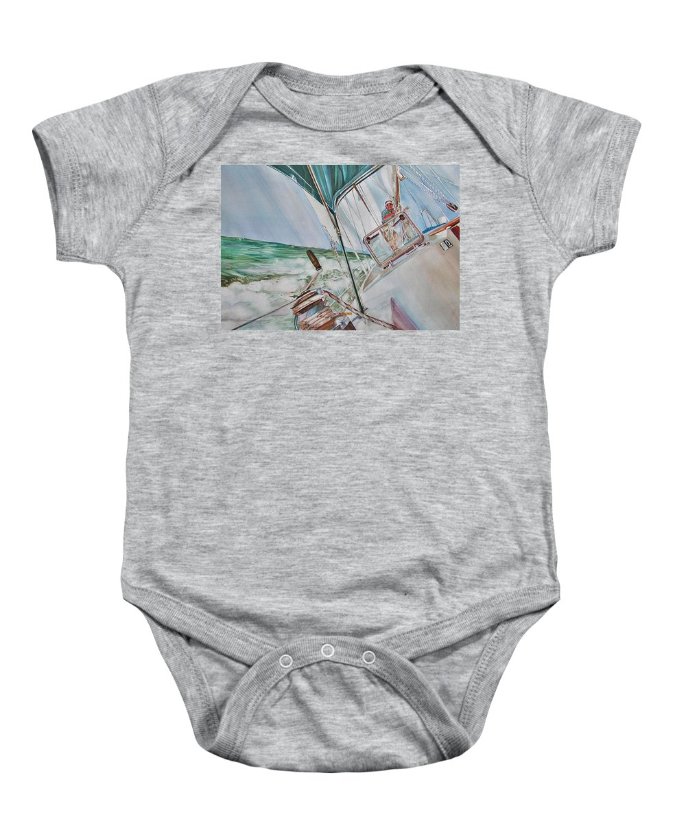 Sailing Baby Onesie featuring the painting Beating Windward by P Anthony Visco