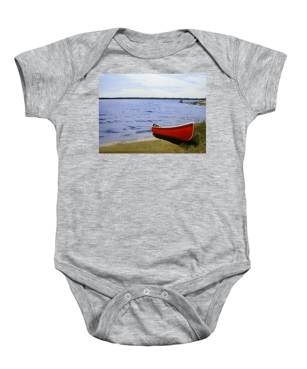 Landscpaes Baby Onesie featuring the painting Beaultiful Red Canoe by Kenneth M Kirsch